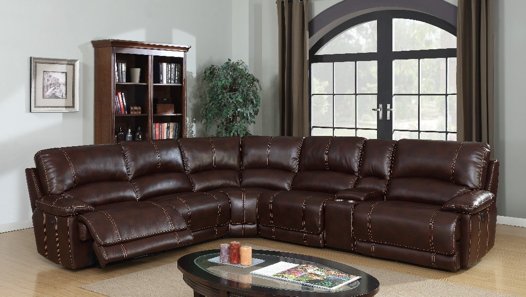 Myco Brown Power Leather Gel Recliner Sectional