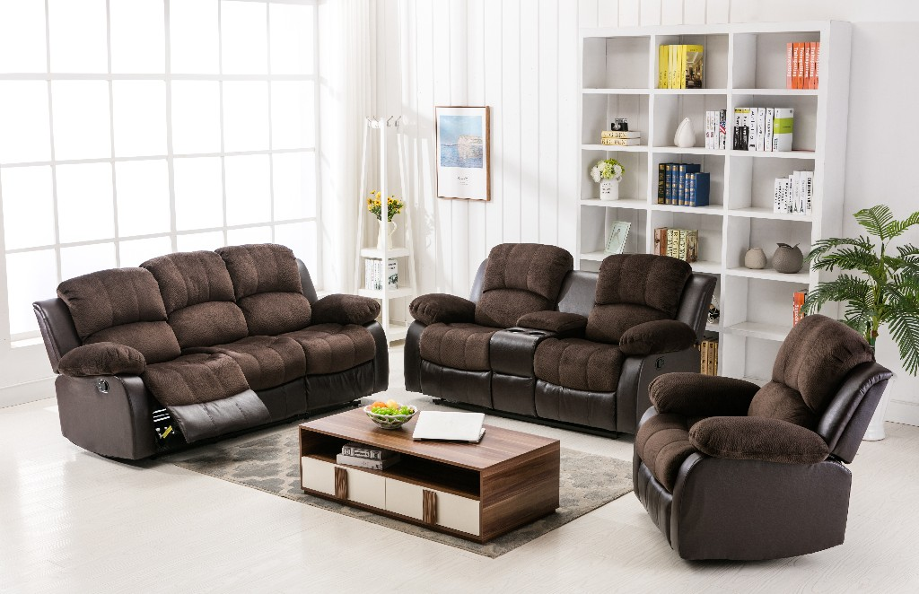 Myco Recliner Sectional Two Tone Chocolate Brown