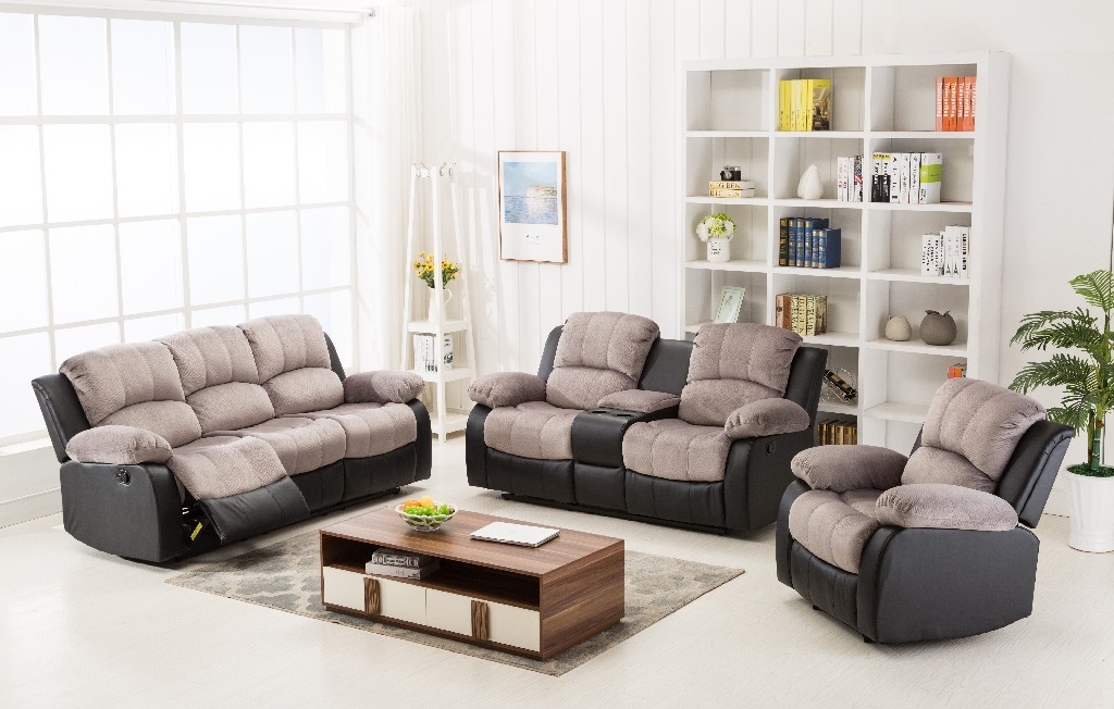 Myco Recliner Sectional Two Tone Two Tone Gray Black