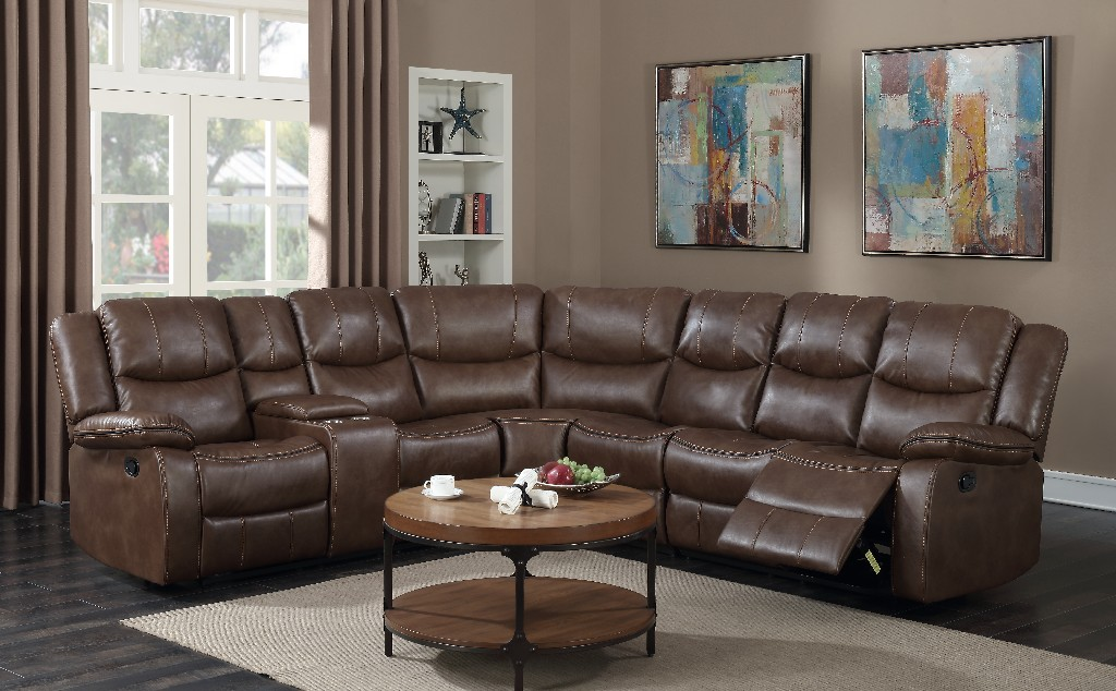 Myco Theo Recliner Leather Gel Sectional Brown