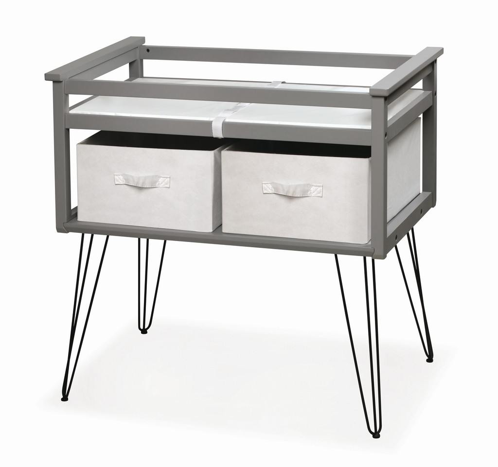 Contempo Convertible Changing Table with Two Baskets In Gray - Badger Basket 27001