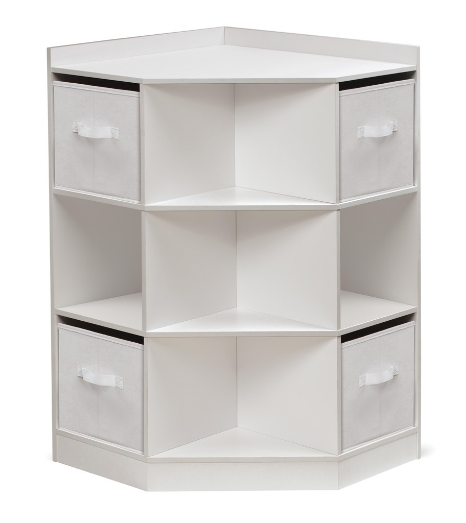 Corner Cubby Storage Unit with Four Reversible Baskets In White - Badger Basket 98812