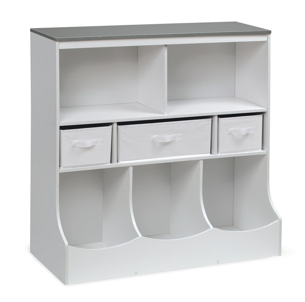 Combo Bin Storage Unit with Three Baskets In Solid White/Woodgrain Gray - Badger Basket 98865