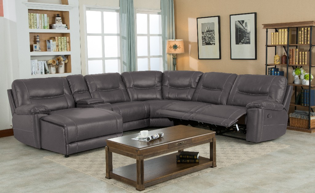 Myco Left Facing Chaise Leather Gel Sectional Gray