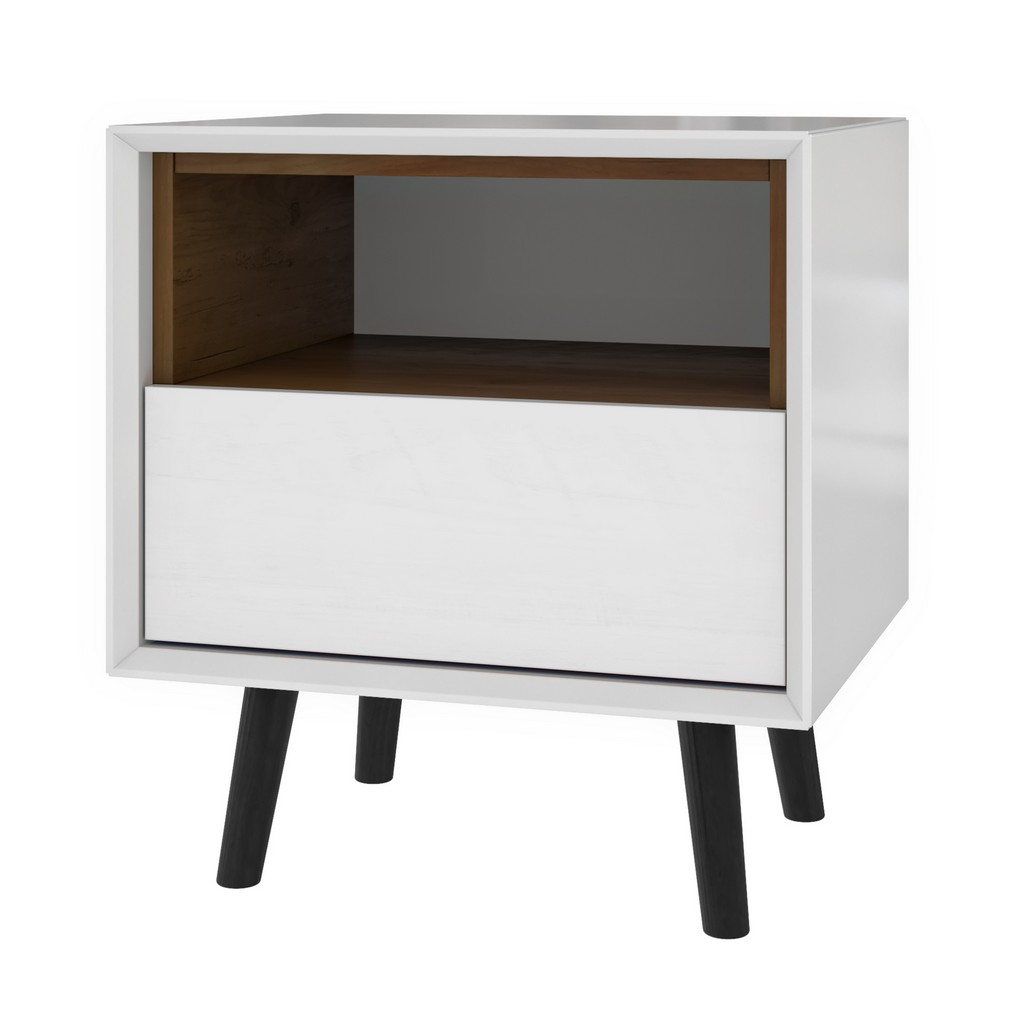 Alga 19W End Table in white & walnut brown - Bestar 102160-000001