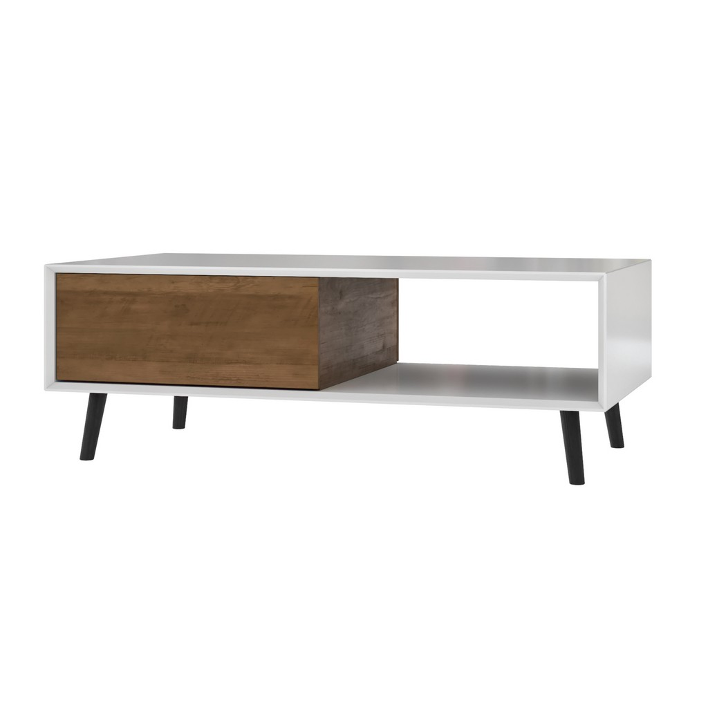 Alga 48W Coffee Table in white & walnut brown - Bestar 102161-000001