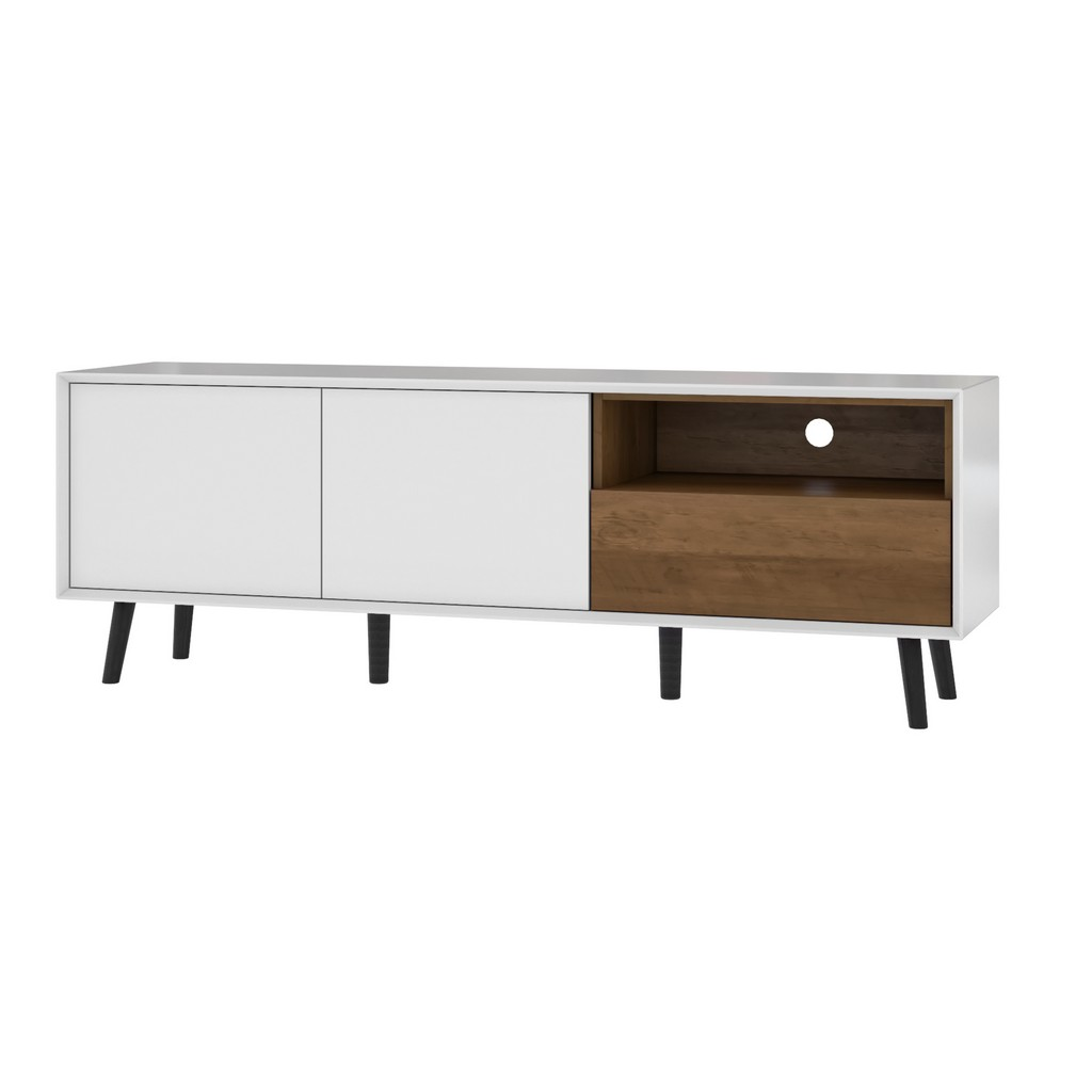 Alga 63W TV Stand in white & walnut brown - Bestar 102162-000001