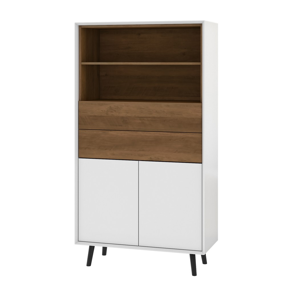 Alga 36W Bookcase in white & walnut brown - Bestar 102700-000001