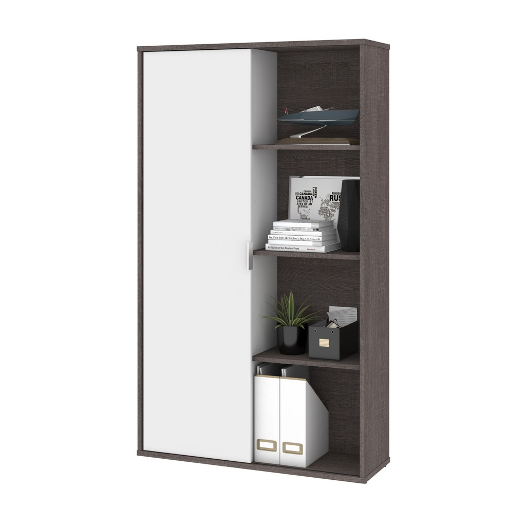 Aquarius 36W Storage Unit with 8 Cubbies in bark grey & white - Bestar 114700-000047