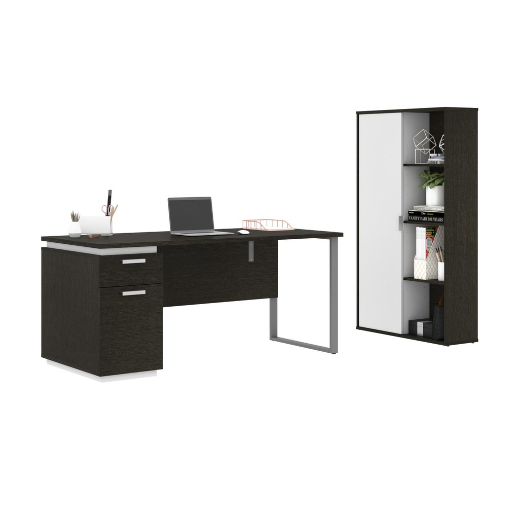 Aquarius 2-Piece Set Including a Desk with Single Pedestal and a Storage Unit with 8 Cubbies in deep grey & white - Bestar 114850-000032