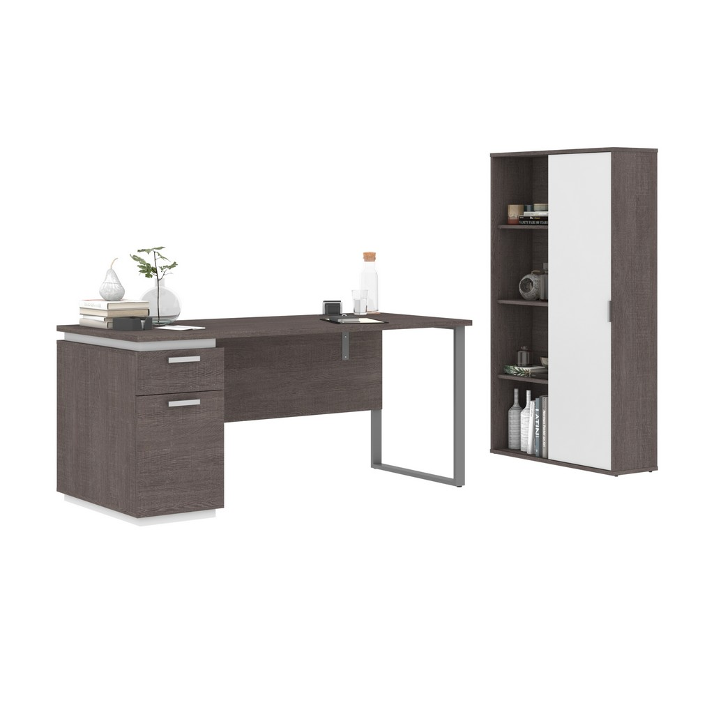 Aquarius 2-Piece Set Including a Desk with Single Pedestal and a Storage Unit with 8 Cubbies in bark grey & white - Bestar 114850-000047