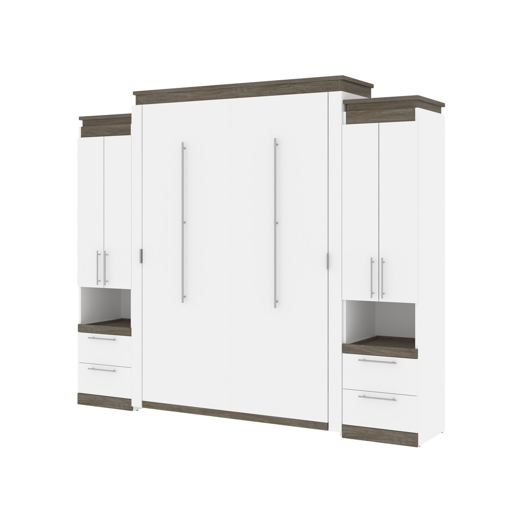 Bestar Queen Murphy Bed Storage Cabinets Pull Out Shelves