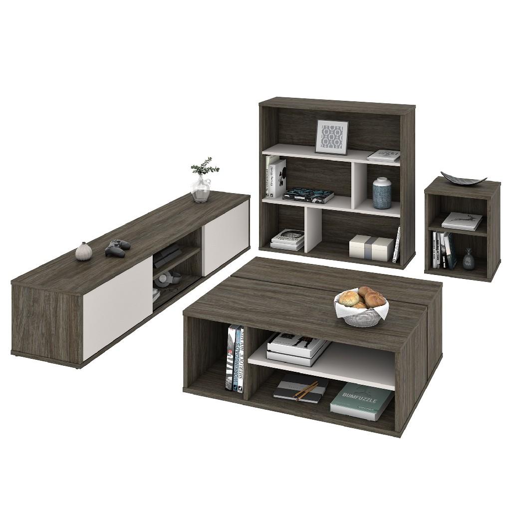 Bestar Fom Living Room Set Walnut Grey Sandstone