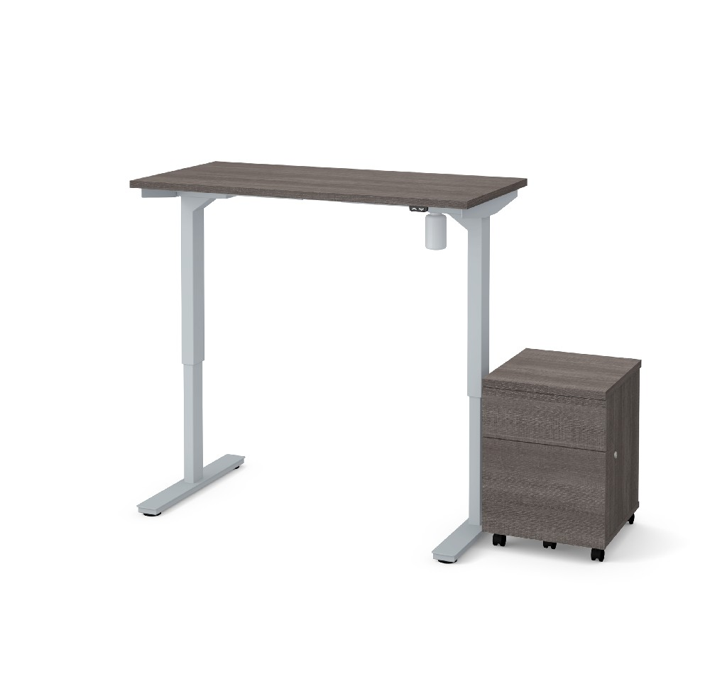 "2 Piece 24"" X 48"" Electric Height Adjustable Table & Mobile Filing Cabinet in Bark Gray - Bestar 65842-47"