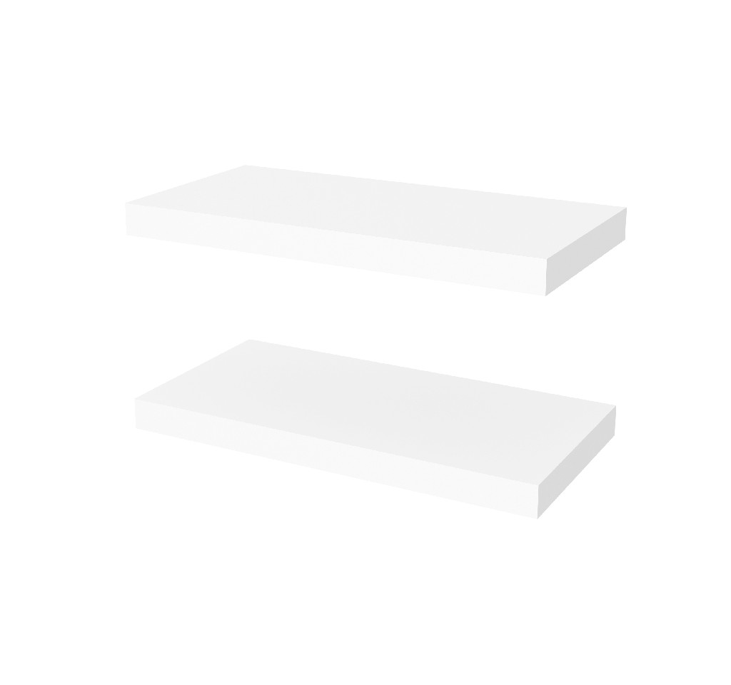 "2 Piece 12"" X 24"" High Quality Lightweight Floating Shelf Set in White - Bestar 65847-1117"
