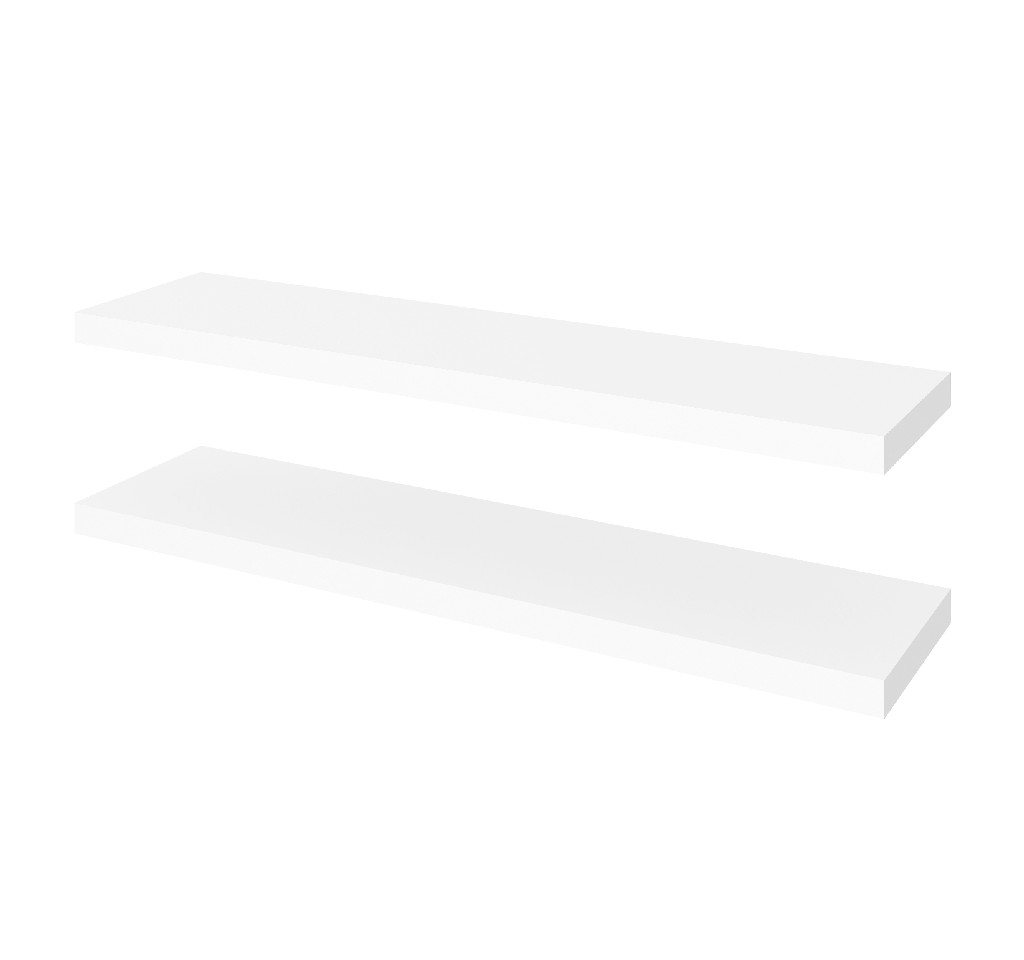 "2 Piece 12"" X 48"" High Quality Lightweight Floating Shelf Set in White - Bestar 65848-1117"