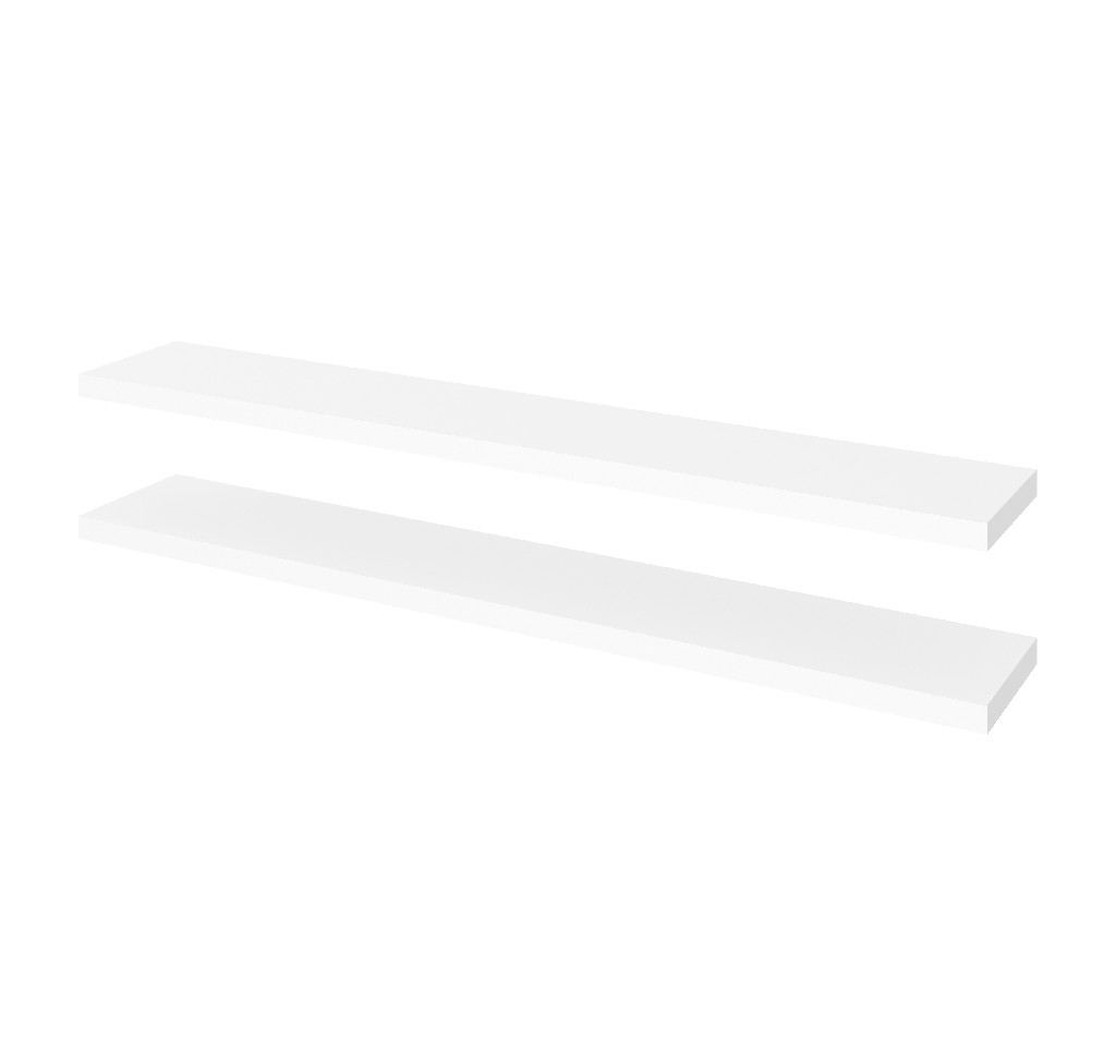 "2 Piece 12"" X 72"" High Quality Lightweight Floating Shelf Set in White - Bestar 65849-1117"