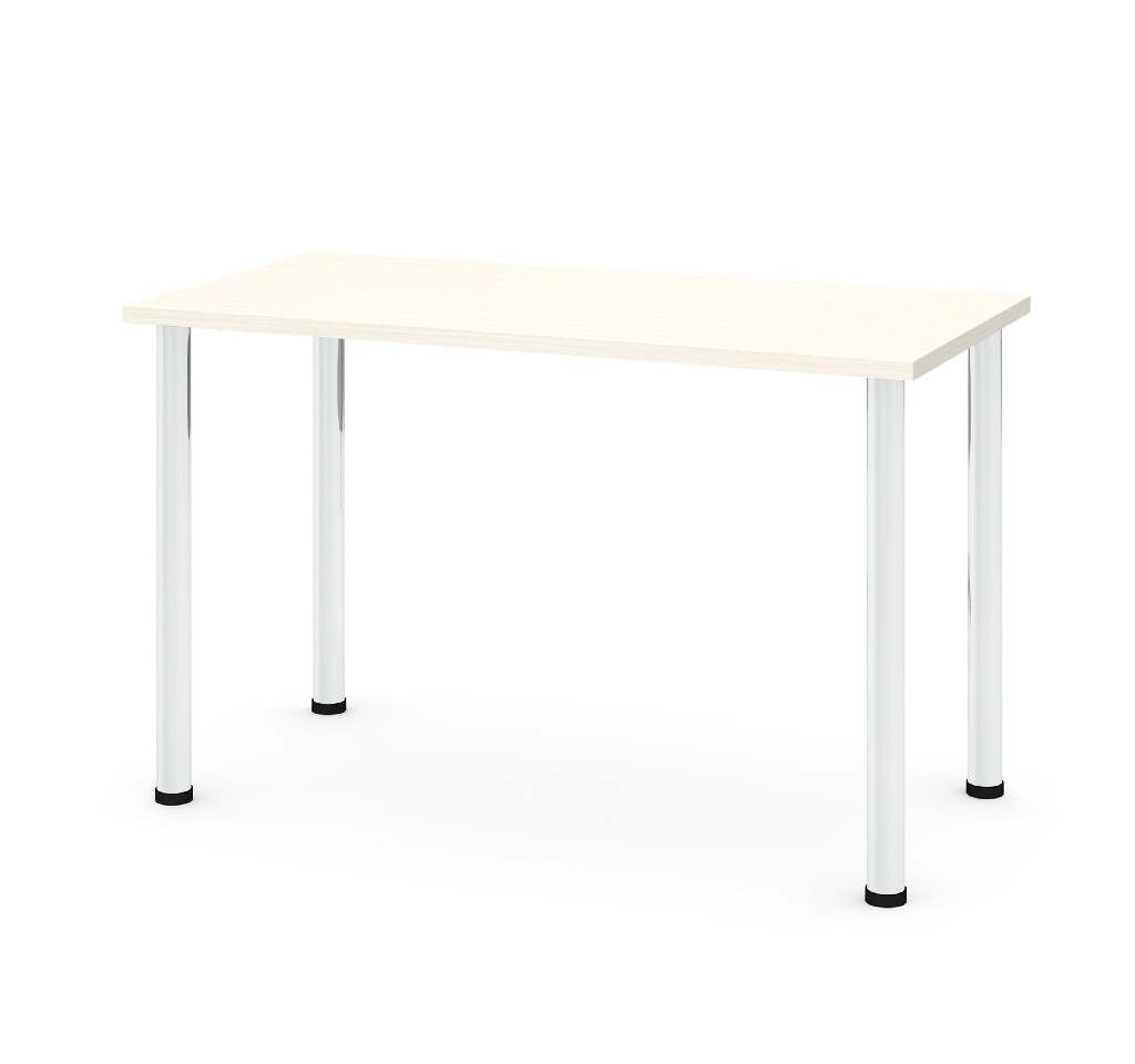 "24"" X 48"" Table w/ Round Metal Legs in White Chocolate - Bestar 65852-31"