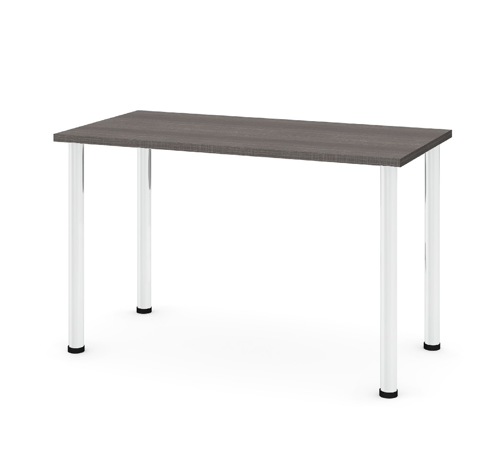 "24"" X 48"" Table w/ Round Metal Legs in Bark Gray - Bestar 65852-47"