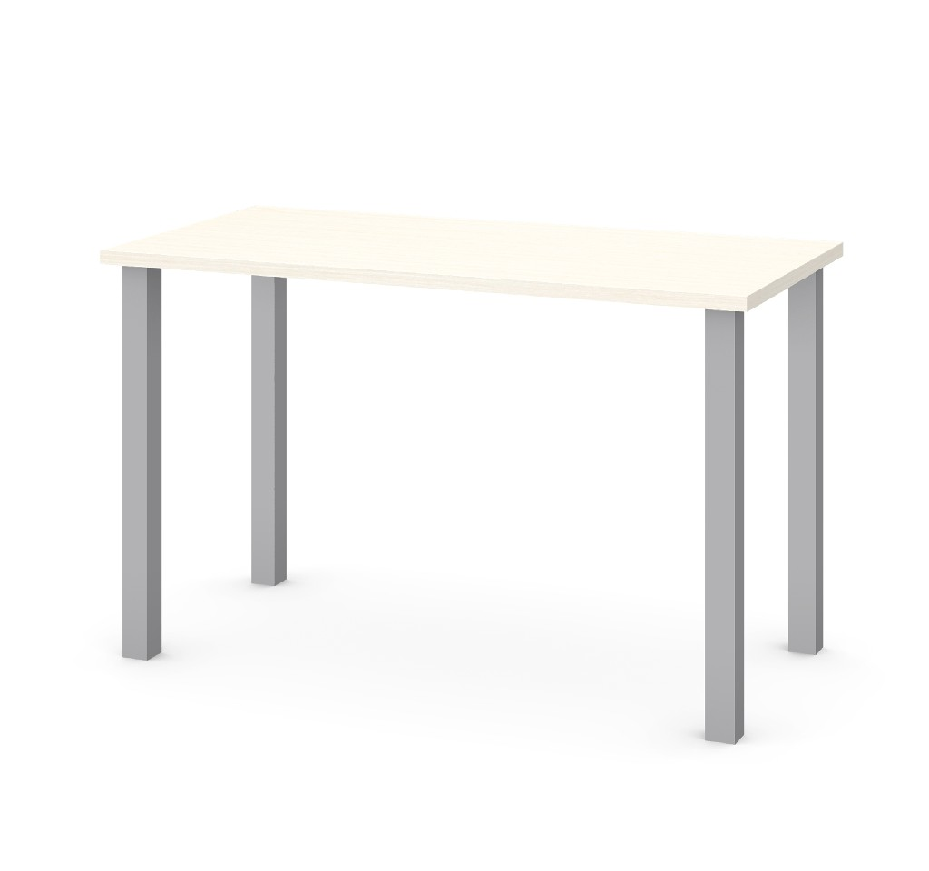 "24"" X 48"" Table w/ Square Metal Legs in White Chocolate - Bestar 65855-31"