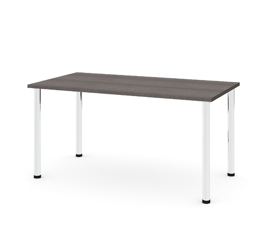 "30"" X 60"" Table w/ Round Metal Legs in Bark Gray - Bestar 65862-47"
