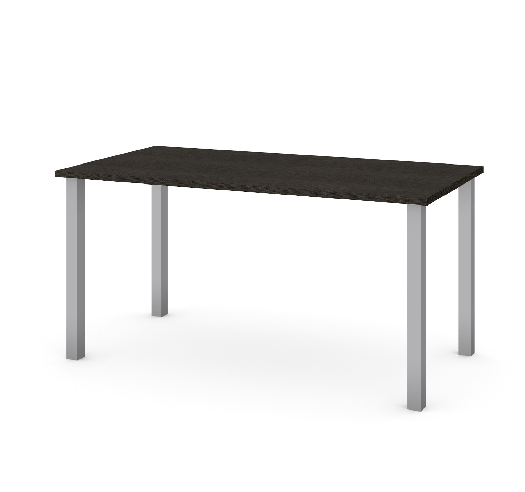 "30"" X 60"" Table w/ Square Metal Legs in Deep Grey - Bestar 65865-32"