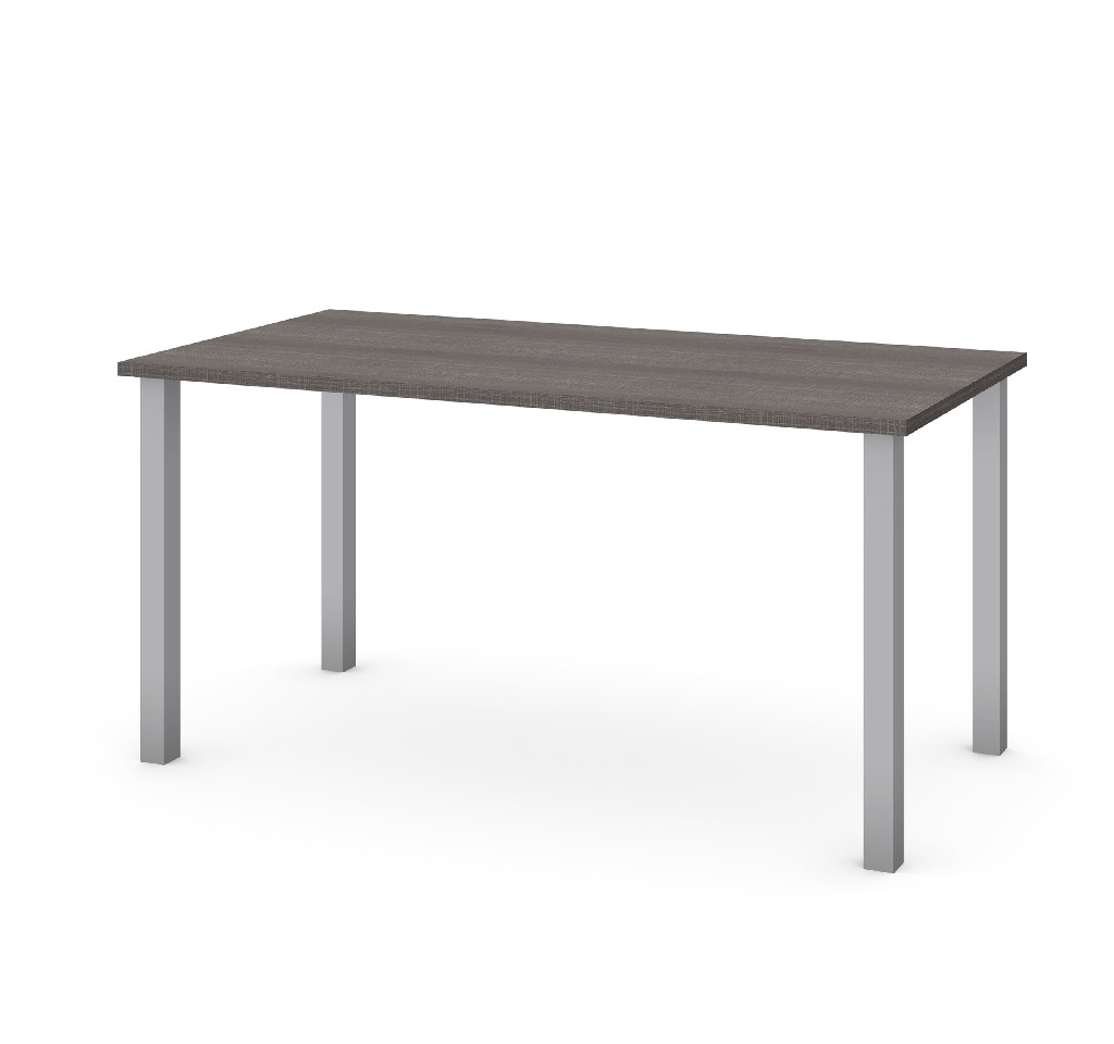 "30"" X 60"" Table w/ Square Metal Legs in Bark Gray - Bestar 65865-47"