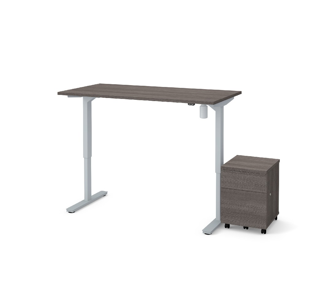 "2 Piece 30"" X 60"" Electric Height Adjustable Table & Mobile Filing Cabinet in Bark Gray - Bestar 65872-47"