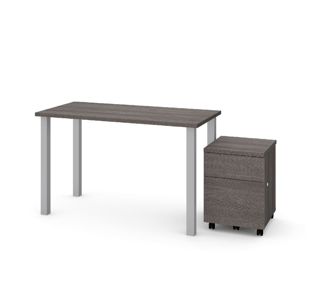 "2 Piece 24"" X 48"" Table w/ Square Metal Legs & Mobile Filing Cabinet in Bark Gray - Bestar 65885-47"