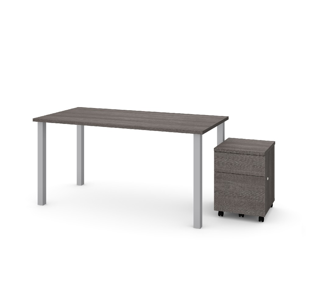 "2 Piece 30"" X 60"" Table w/ Square Metal Legs & Mobile Filing Cabinet in Bark Gray - Bestar 65895-47"
