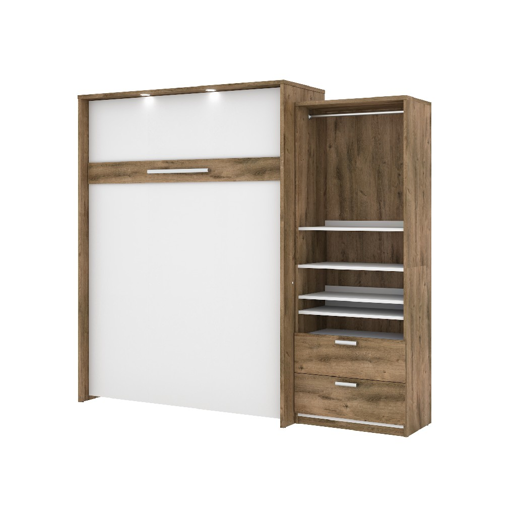 Queen Wall Bed Kit Rustic Brown White