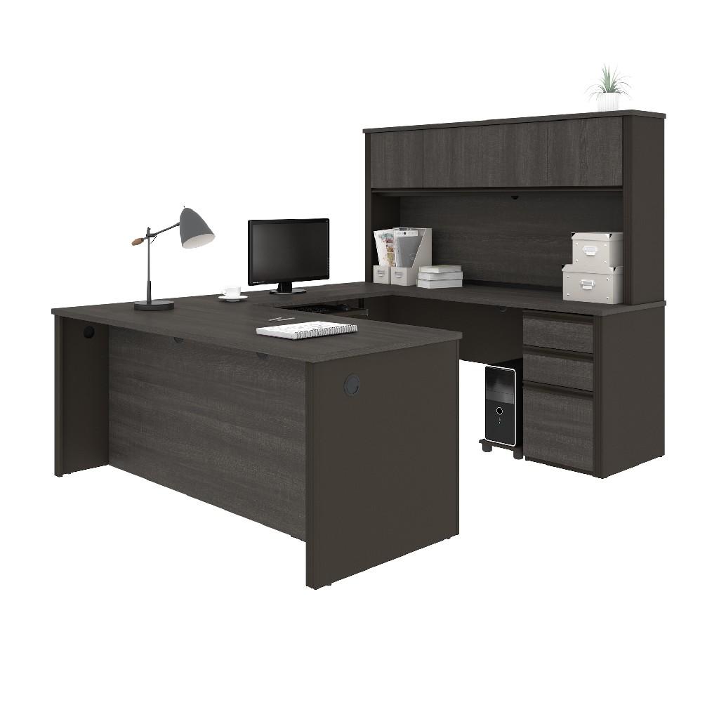 Bestar Workstation Two Pedestals Bark Gray Slate