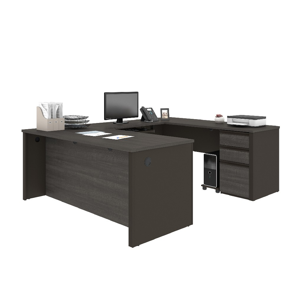 Bestar Workstation One Pedestal Bark Gray Slate