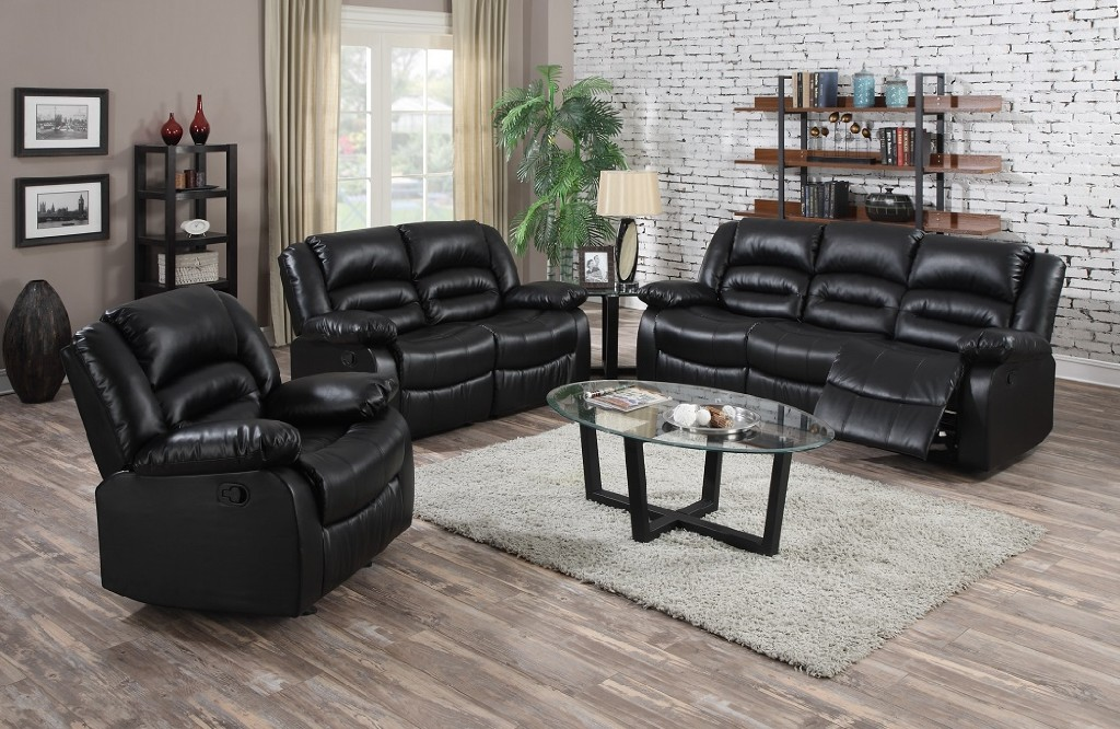 Myco Eden Black Leather Recliner Sectional