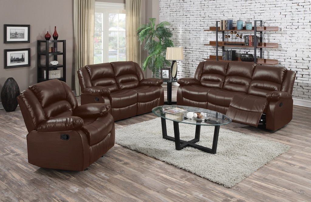 Myco Brown Leather Recliner Sofa Myco