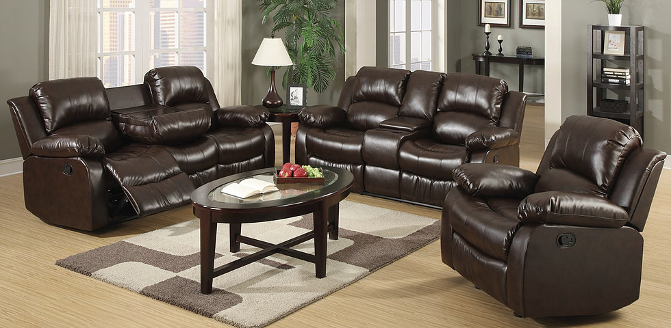Myco Bonded Leather Recliner Console Loveseat Brown