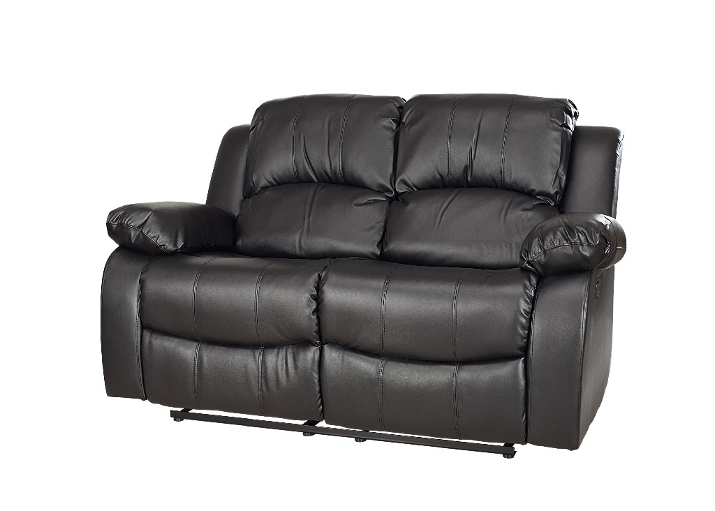 Myco Bonded Leather Recliner Loveseat Black