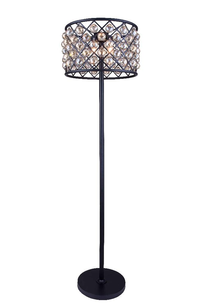 Elegant Lighting Furniture Light Matte Black Floor Lamp Golden Teak Photo