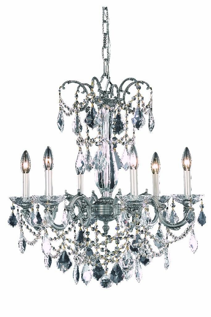 Light Pewter Chandelier Clear Swarovski Crystal