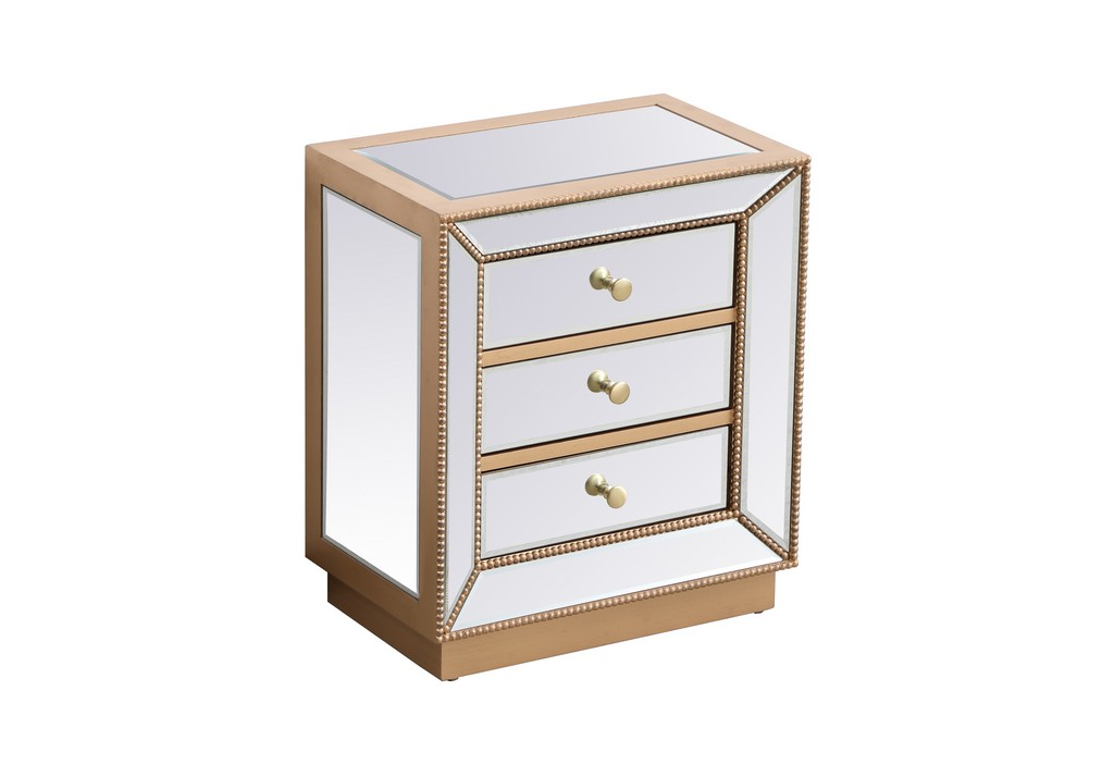 21 inch mirrored chest in antique gold - Elegant Lighting MF53016G