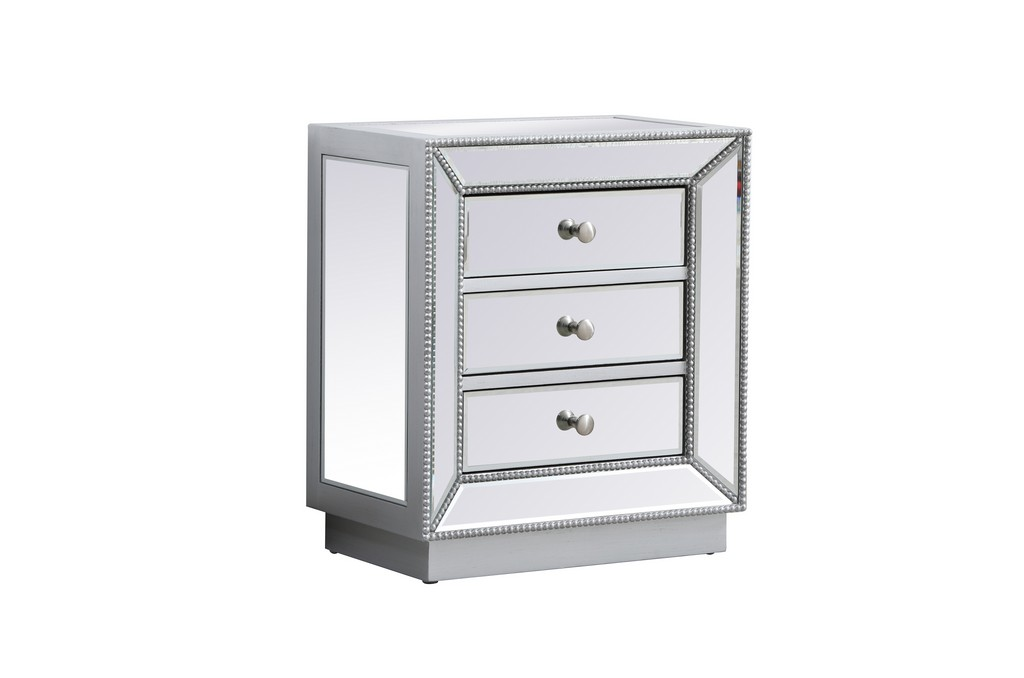 21 inch mirrored chest in antique silver - Elegant Lighting MF53016S