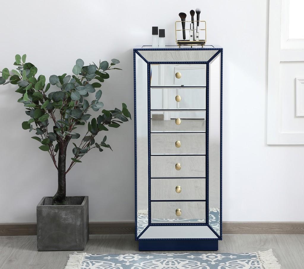 18 inch mirrored lingere chest in blue - Elegant Lighting MF53047BL