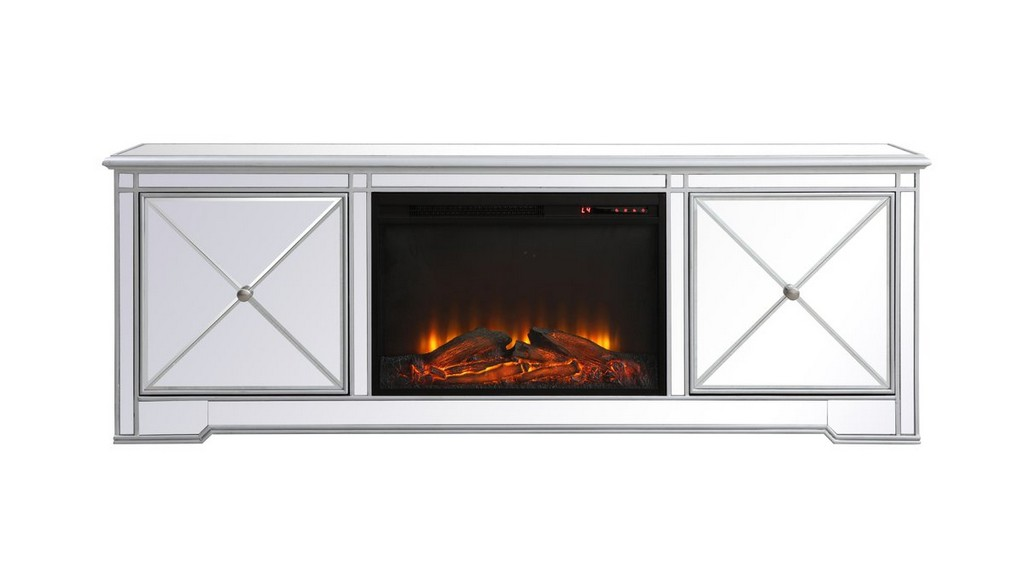 Modern Mirrored Tv Stand Wood Fireplace Antique Silver