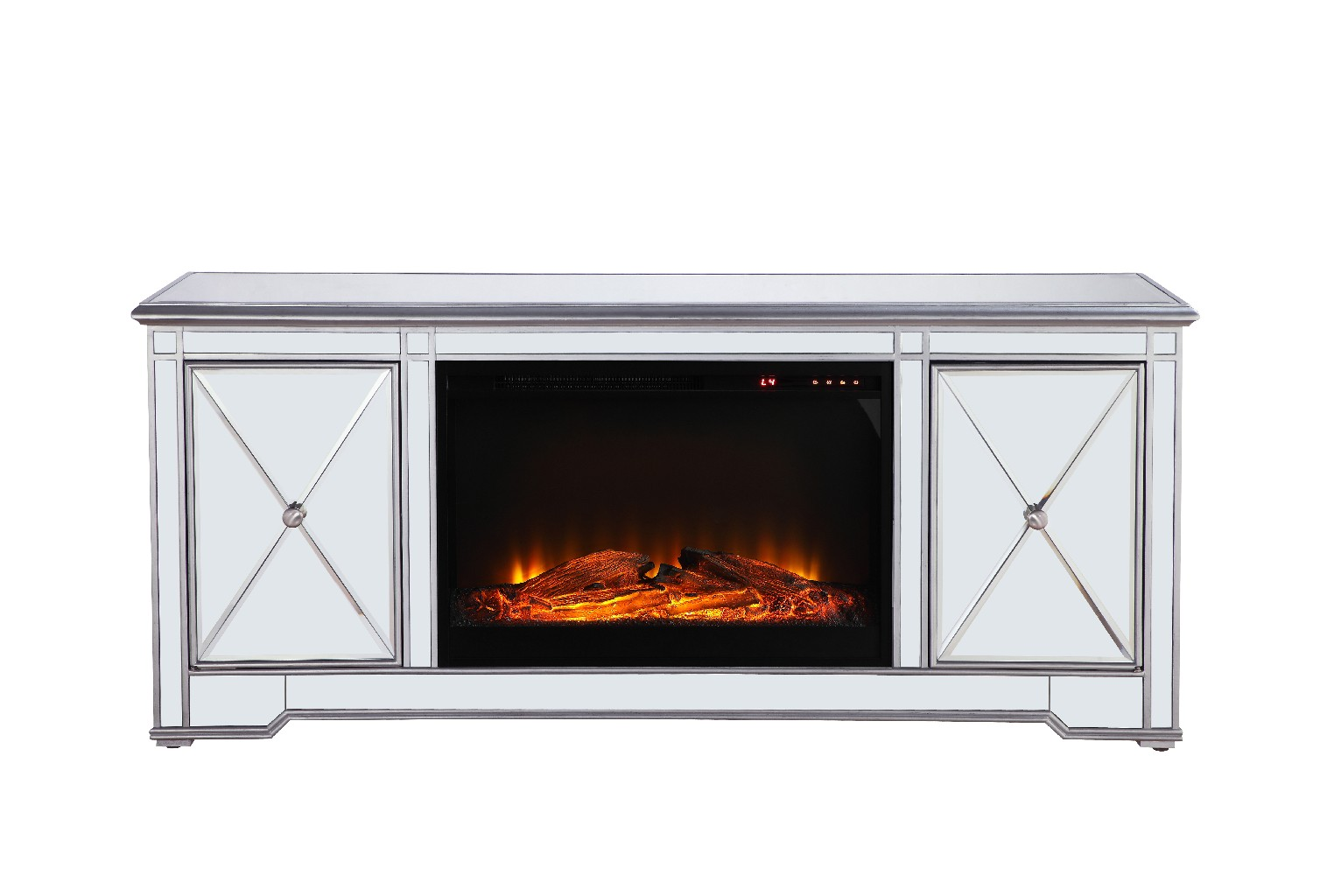 Lighting Tv Stand Mirrored Wood Fireplace Insert