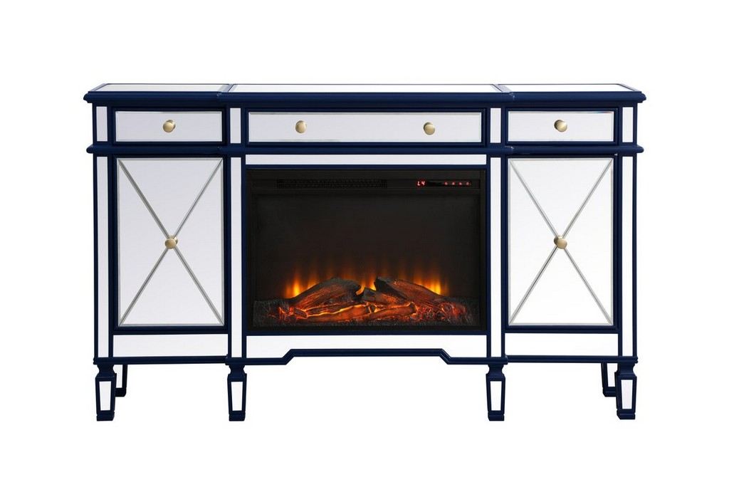 Contempo Mirrored Credenza Wood Fireplace Blue