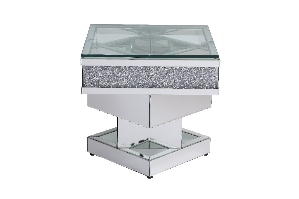Lighting Mirrored End Table