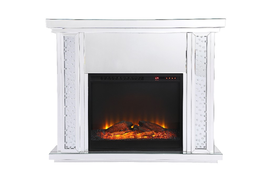 Lighting Mirrored Mantle Wood Log Insert Fireplace