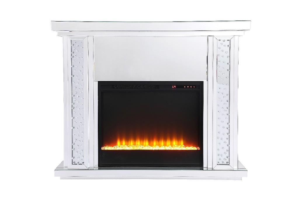 Lighting Mirrored Mantle Insert Fireplace