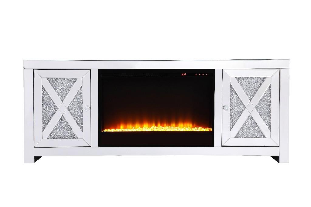 Lighting Tv Stand Mirrored Insert Fireplace