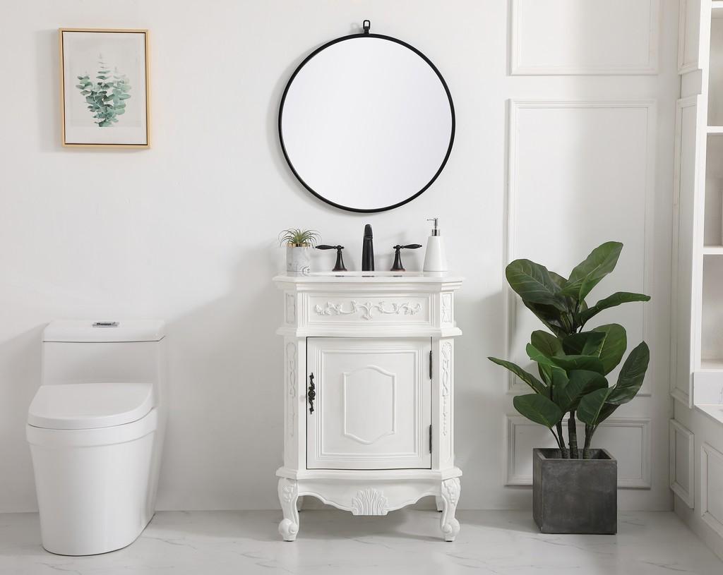 24 inch single bathroom vanity in antique white - Elegant Lighting VF-1031AW